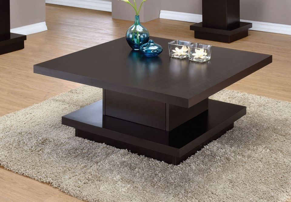 Coaster Furniture Cappuccino Pedestal Storage Square Coffee Table inside Square Coffee Table With Storage