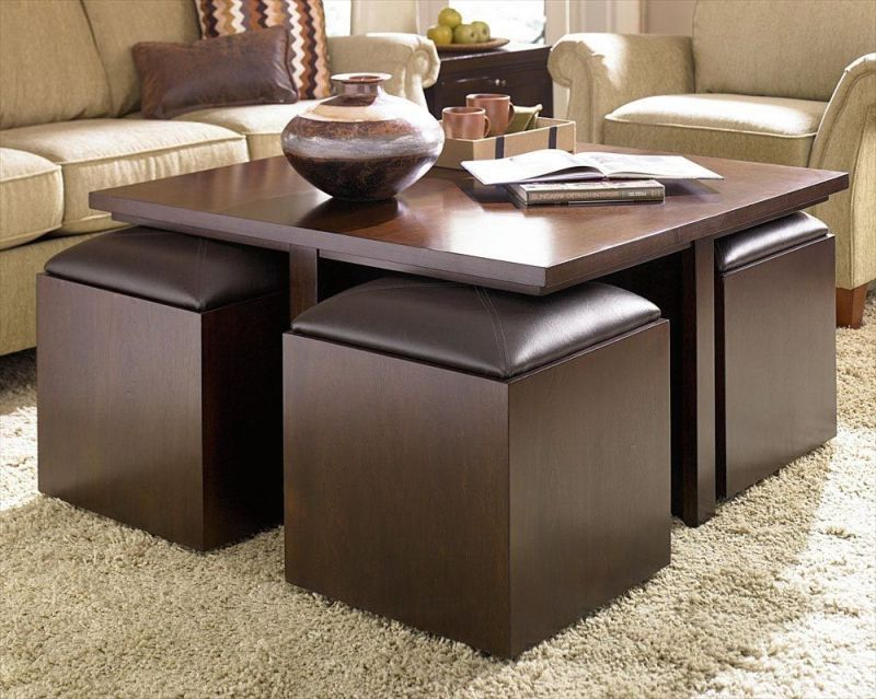 Coffee Table With Storage Stools | Coffee Tables In 2019 | Storage intended for Square Coffee Table With Storage