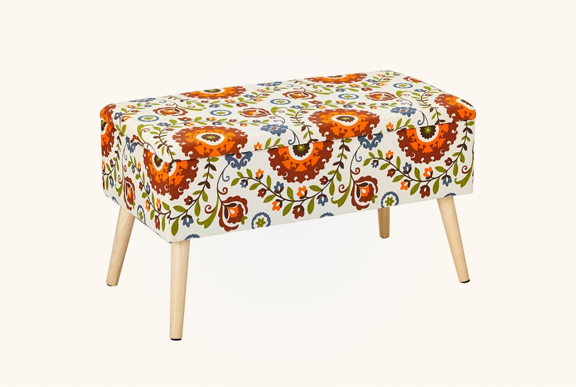 colorful-floral-upholstered-storage-bench-in-orange-green-and-blue