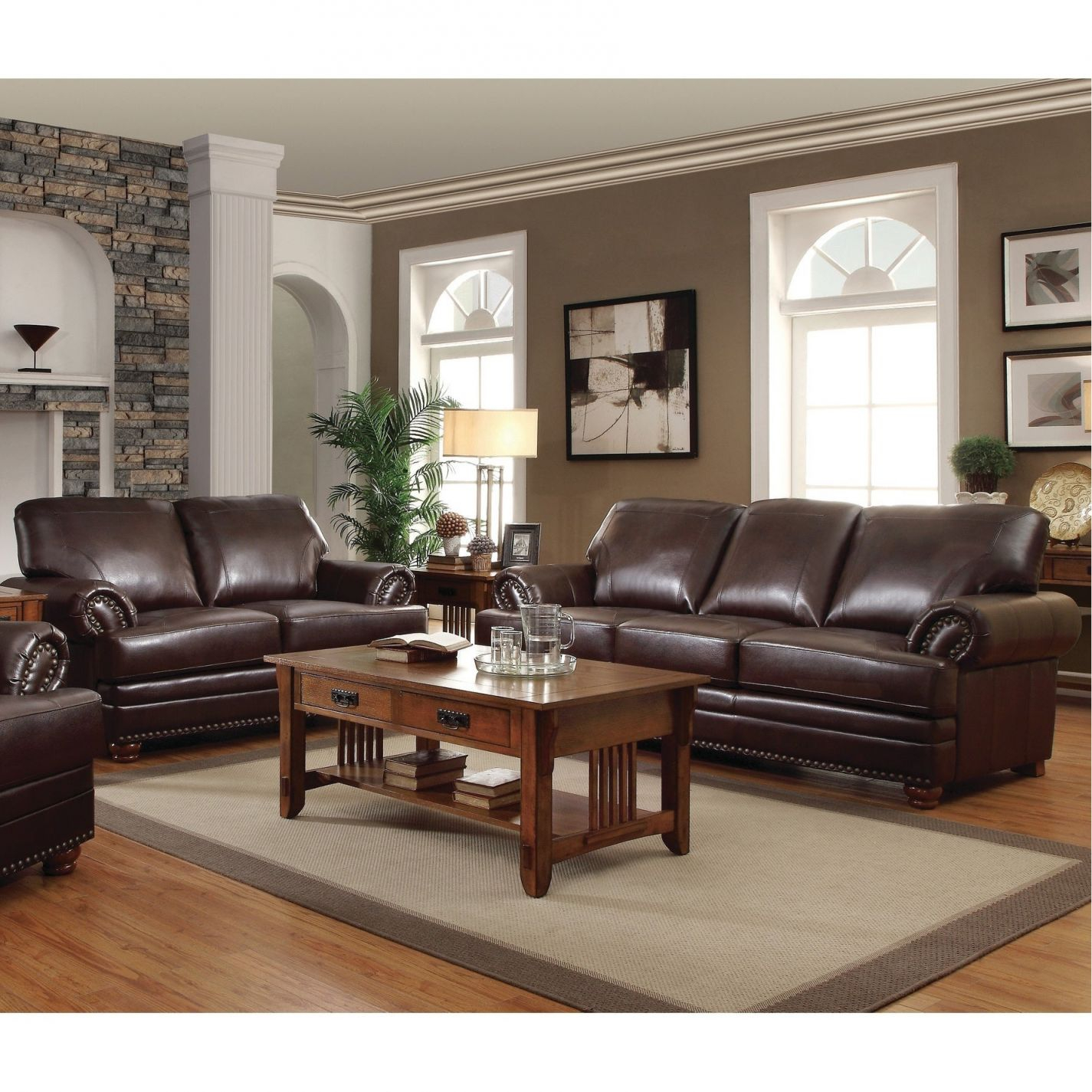 Colton Brown 2-Piece Leather Living Room Set throughout Leather Living Room Sets