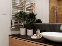 contemporary-bathroom-floating-wood-vanity-indoor-plants