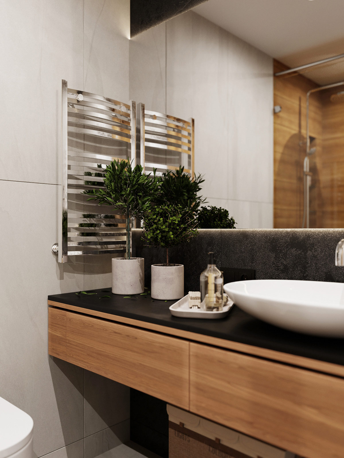 contemporary-bathroom-floating-wood-vanity-indoor-plants