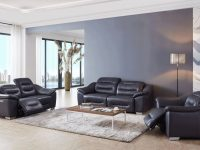 Contemporary Leather Grey Living Room Set intended for Leather Living Room Sets