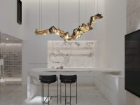 contemporary-marble-dining-room-with-gold-accents