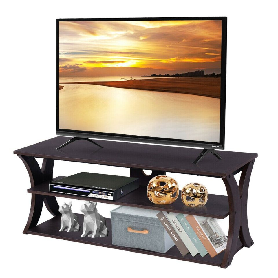 Costway 3-Tier Tv Stand Entertainment Center Media Console Furniture Storage Cabinet within New Furniture Tv Stands