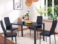 Costway 5 Piece Kitchen Dining Set Glass Metal Table And 4 Chairs Breakfast Furniture regarding Chair Living Room Furniture