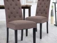 Costway: Costway Set Of 2 Fabric Wood Accent Dining Chair Tufted with Modern Living Room Chairs