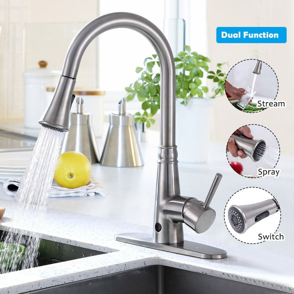 Costway Motion Sense Touchless Kitchen Faucet Pull-Down Single Handle Brushed Nickel intended for New Touchless Kitchen Faucet
