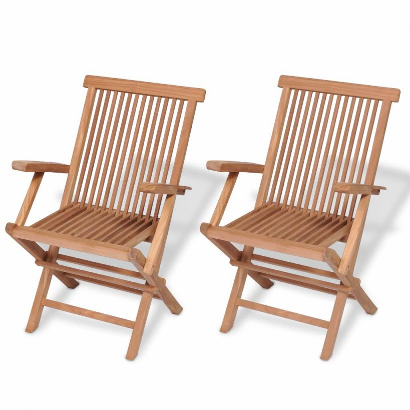 Details About 2 × Teak Garden Patio Chairs Wooden Folding Armchiar Seats  Outdoor Furniture Set with Teak Outdoor Furniture Set