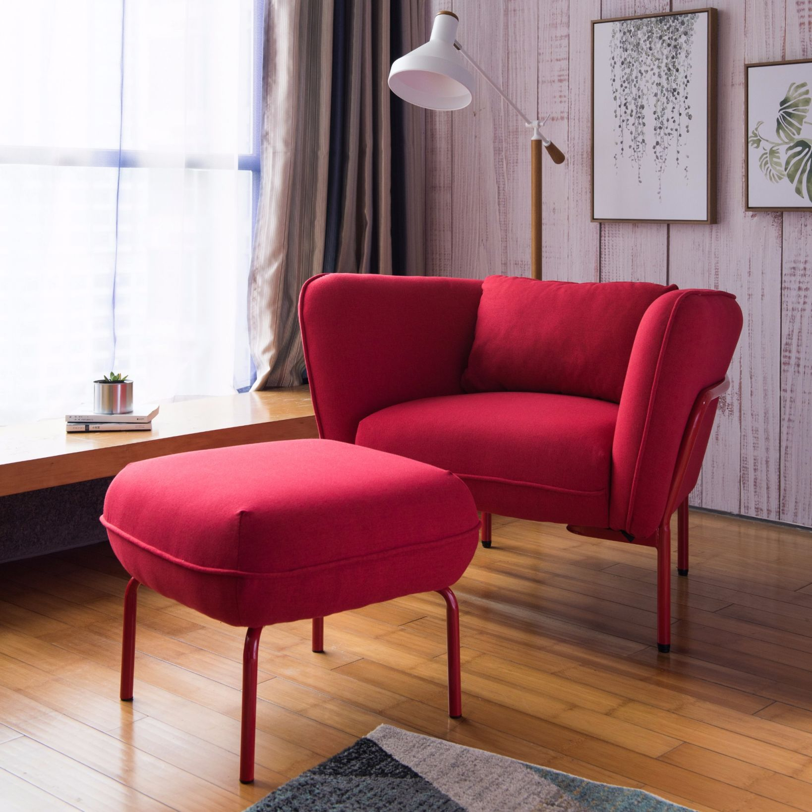 Details About Armrest Chair And Ottoman Lounge Chair Living
