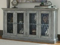 Details About Entryway Storage Cabinet Grey 4 Glass Door Farmhouse Dining Room Furniture intended for Lovely Living Room Storage Cabinet With Doors