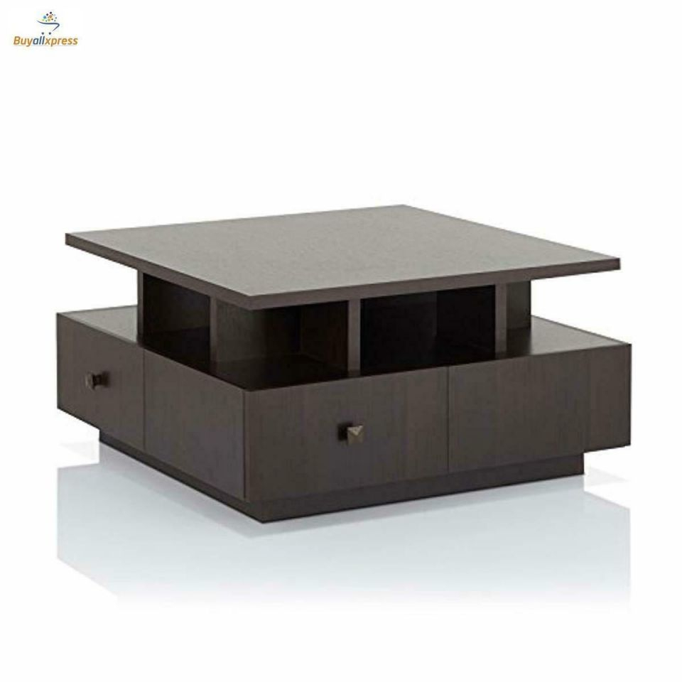 Details About Square Coffee Table With Storage Draws Wood Design with regard to Elegant Square Coffee Table With Storage