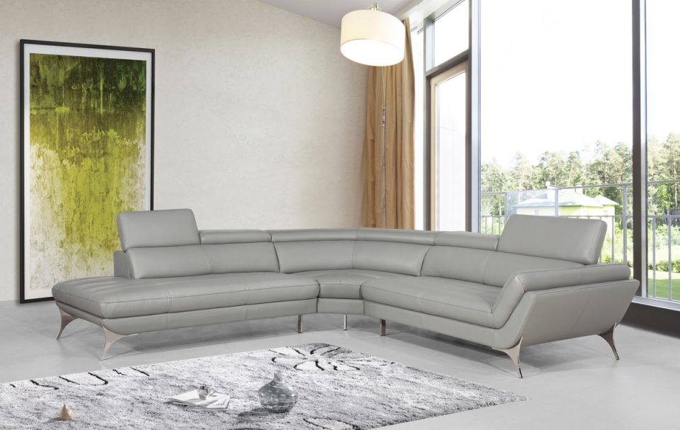 Divani Casa Graphite Modern Grey Leather Sectional Sofa-Color:grey,finish:grey in Best of Leather Sectional Modern