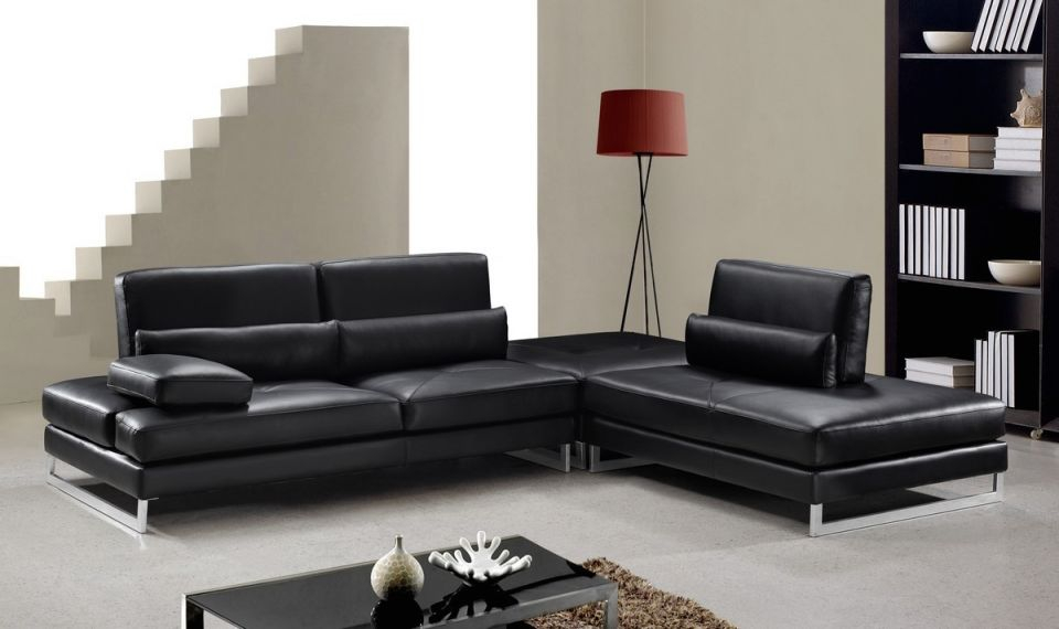Divani Casa Tango – Modern Black Leather Sectional Sofa – Special within Best of Leather Sectional Modern