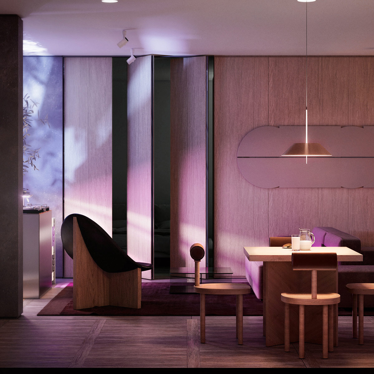 Dynamic Mood Lighting In Modern Wood Interior Awesome Decors
