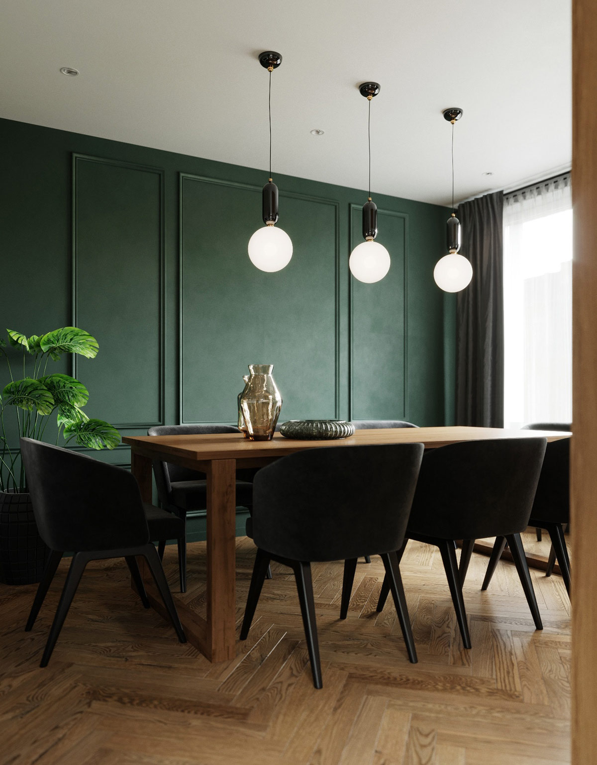 emerald-green-accent-wall-paneling-modern-dining-room