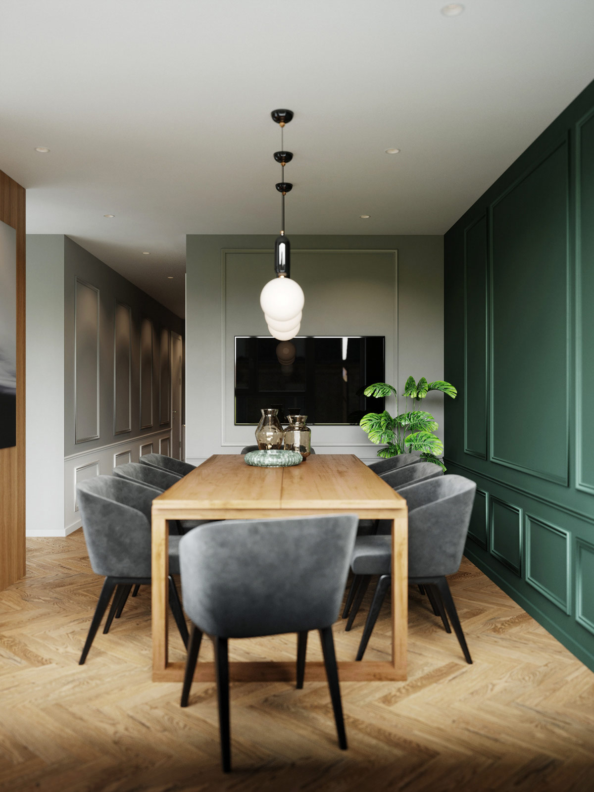 emerald-green-and-grey-jewel-tone-dining-room-theme