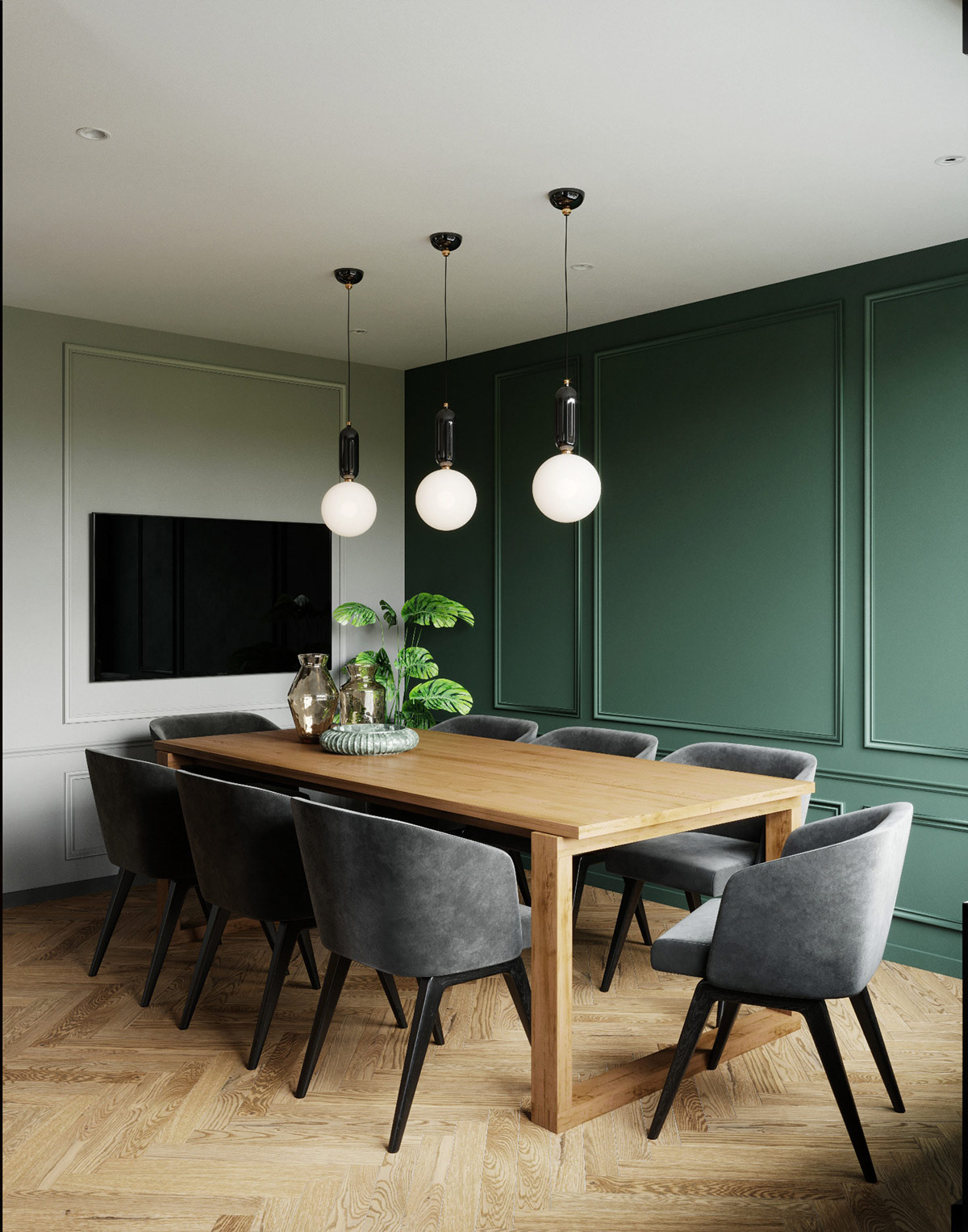 emerald-green-dining-room-accent-wall-with-classic-boiserie