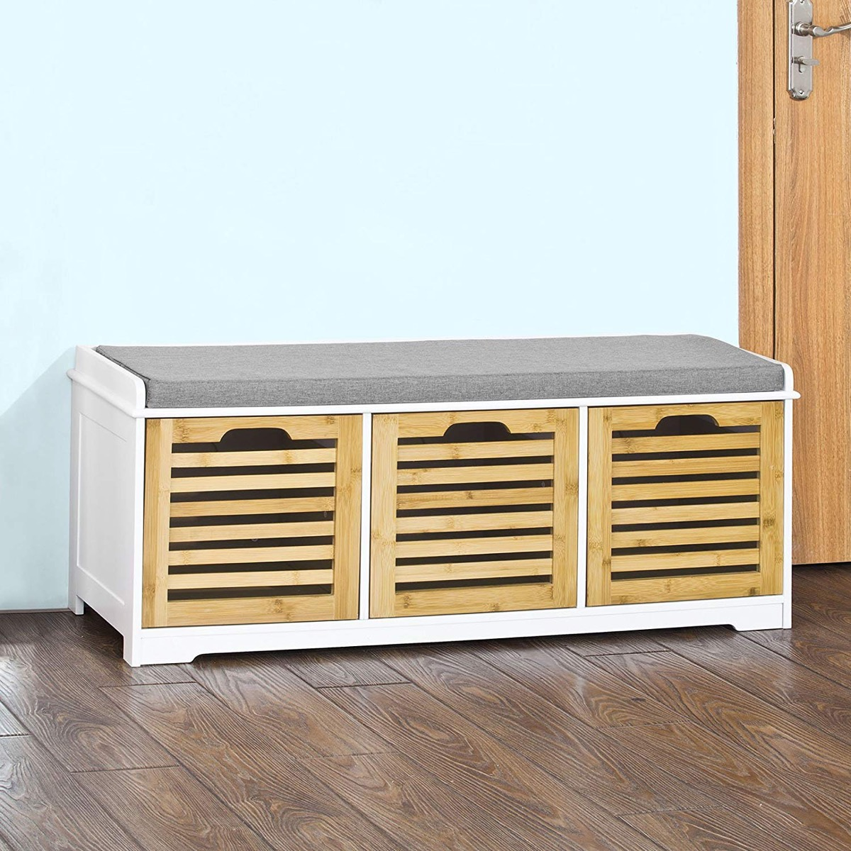 entry-bench-with-storage-drawers-with-white-finish-wood-slats-and-grey-cushion