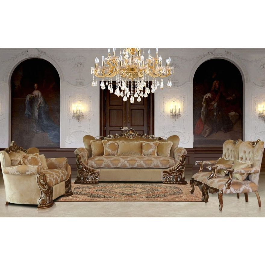 European Furniture Emporior 3Pc Livingroom Set In Golden Brown With Antique Silver inside Unique Living Room Sets