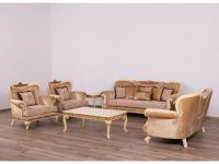 European Furniture Fantasia Luxury 3Pc Livingroom Set In Antique Beige With Dark Gold Leaf in Awesome Chair Living Room Furniture