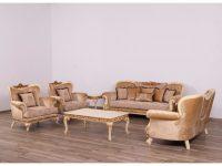 European Furniture Fantasia Luxury 3Pc Livingroom Set In Antique Beige With Dark Gold Leaf intended for Unique Living Room Sets