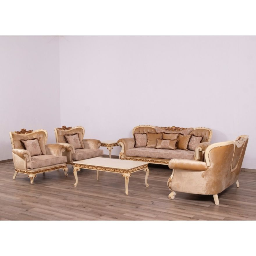 European Furniture Fantasia Luxury 3Pc Livingroom Set In Antique Beige With Dark Gold Leaf intended for Unique Living Room Sets