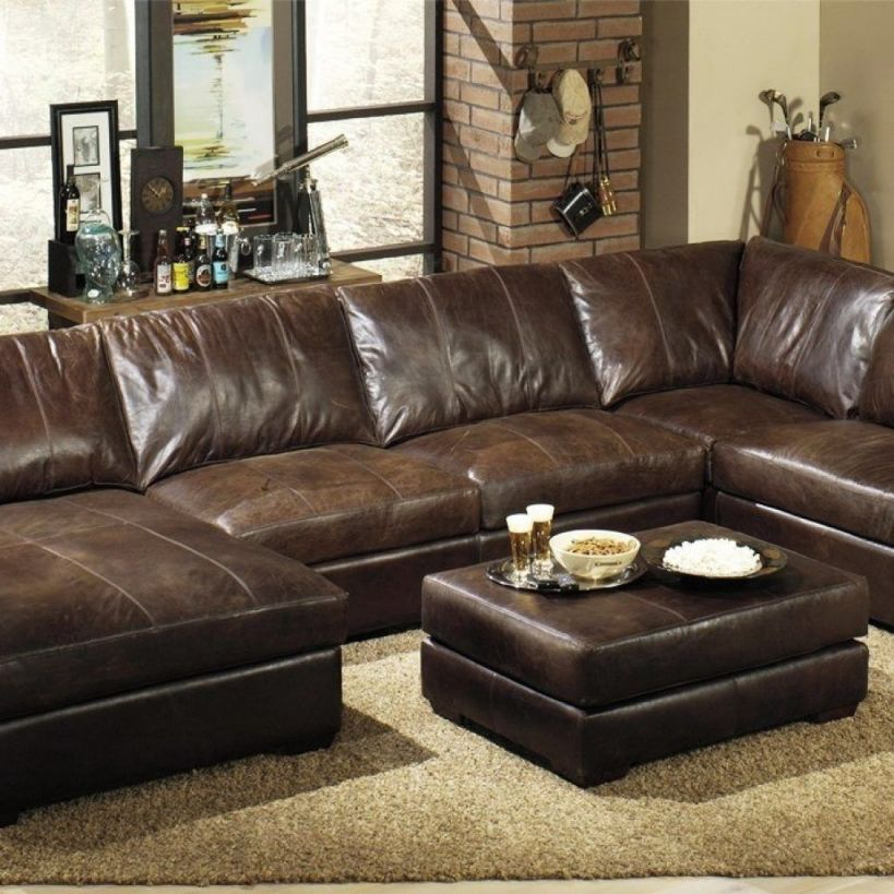 Extra Deep Leather Sectional Sofa | Ideas For Our House In 2019 in Leather Sectional Sofa