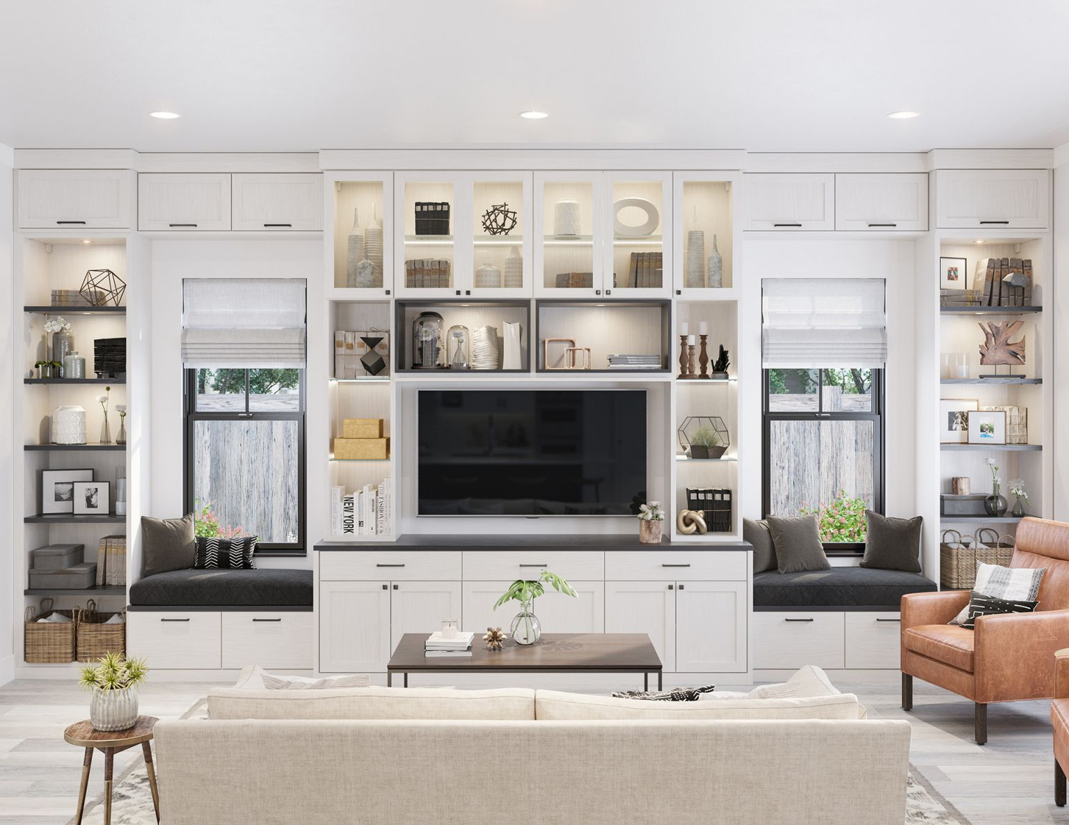 Family Room Cabinets & Storage Solutions | California Closets with regard to Living Room Storage Cabinet With Doors
