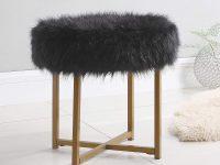 faux-fur-black-vanity-stool-for-modern-homes-bedroom