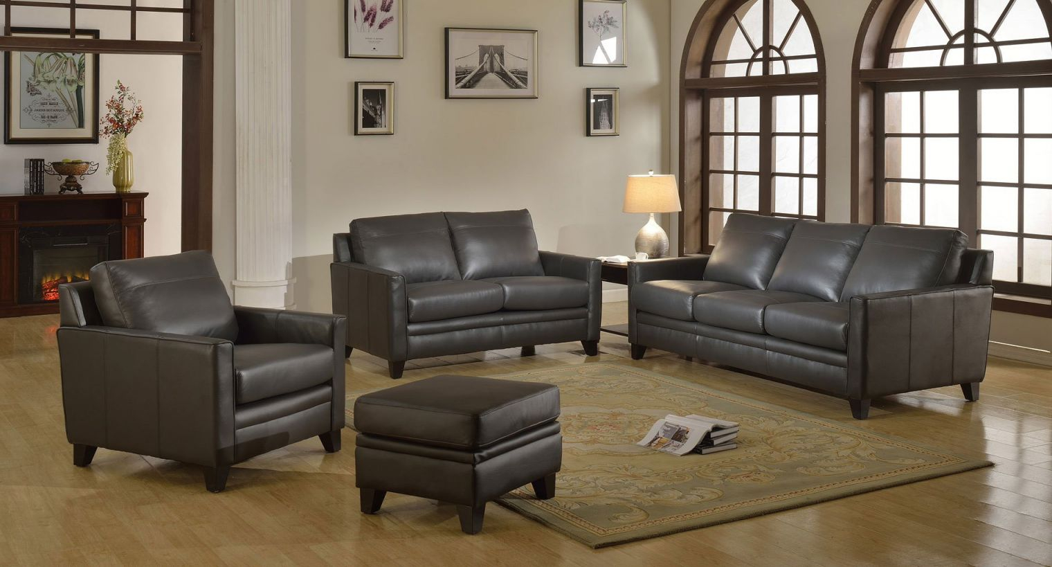 Fletcher Leather Living Room Set (Charcoal) throughout Awesome Leather Living Room Sets