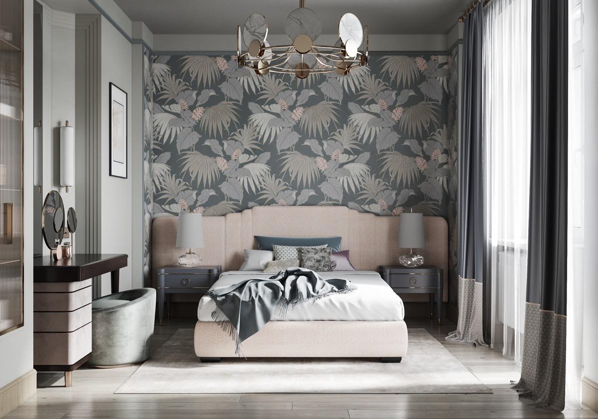 floral-wallpaper-in-pastel-transitional-bedroom-design