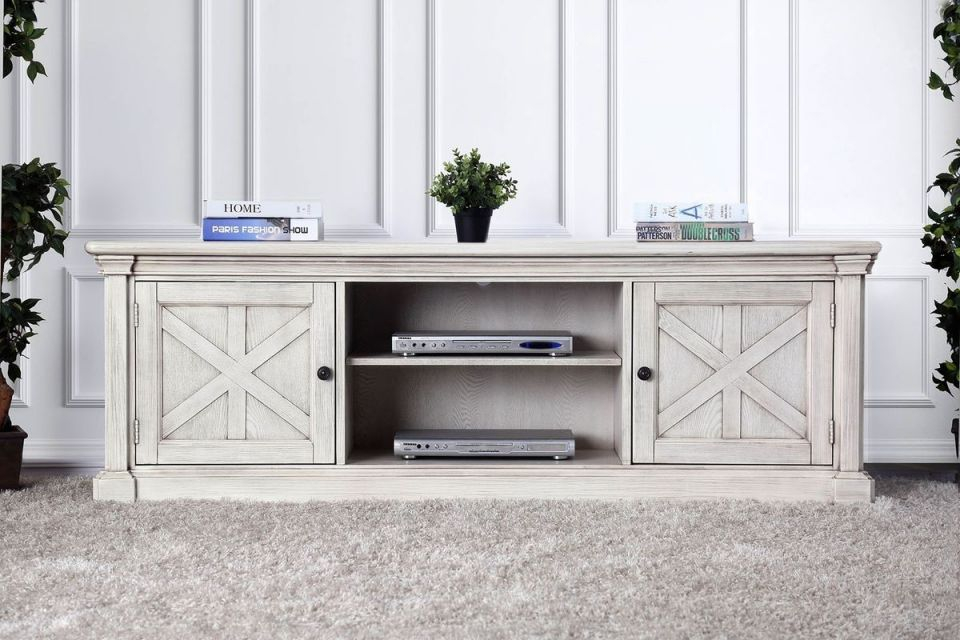 Furniture Of America Georgia 72 Tv Stand In Antique White with regard to New Furniture Tv Stands
