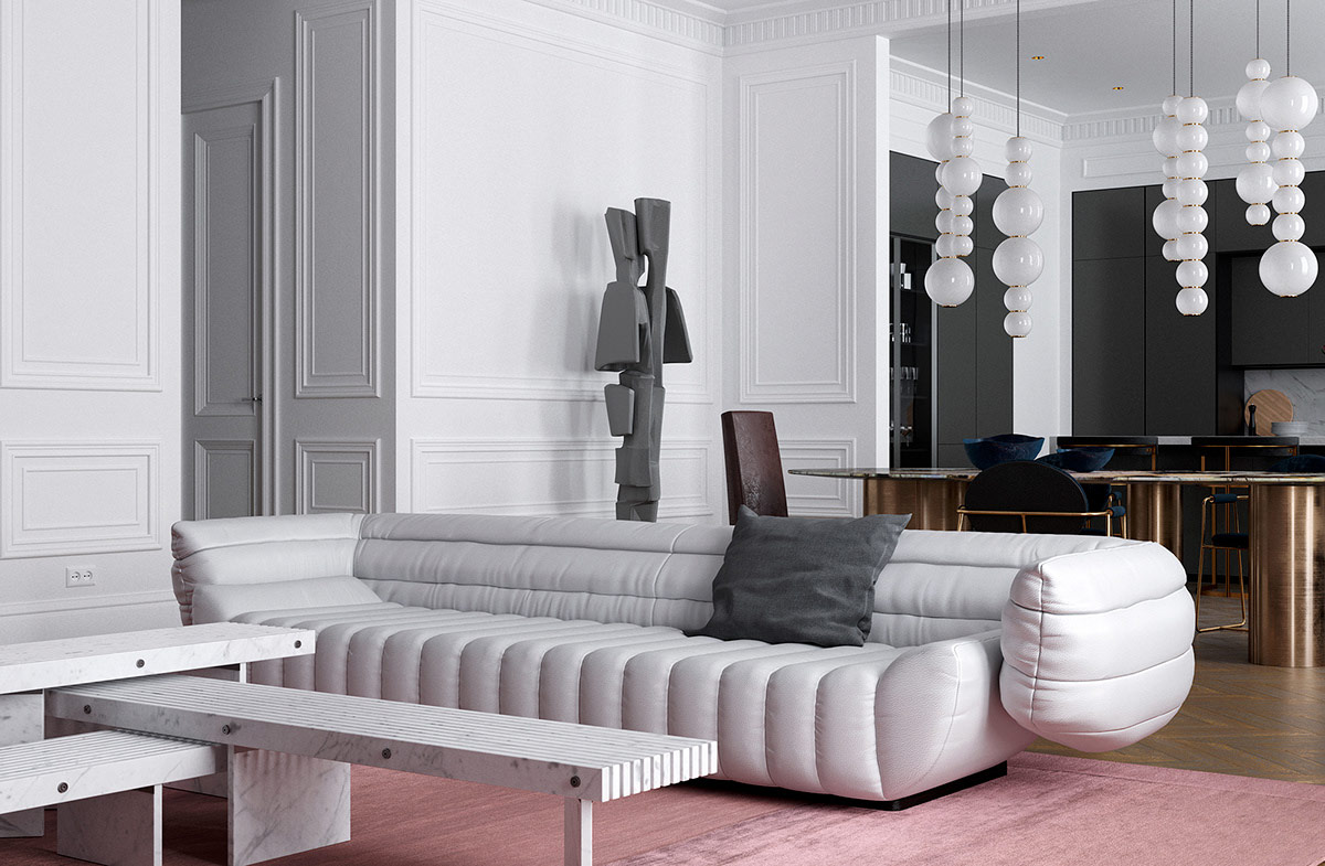 futuristic-furniture-in-neoclassical-interior - Awesome Decors