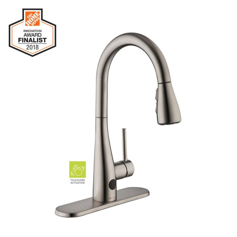 Glacier Bay Nottely Touchless Single-Handle Pull-Down Kitchen Faucet With Turbospray And Fastmount In Stainless Steel inside Touchless Kitchen Faucet