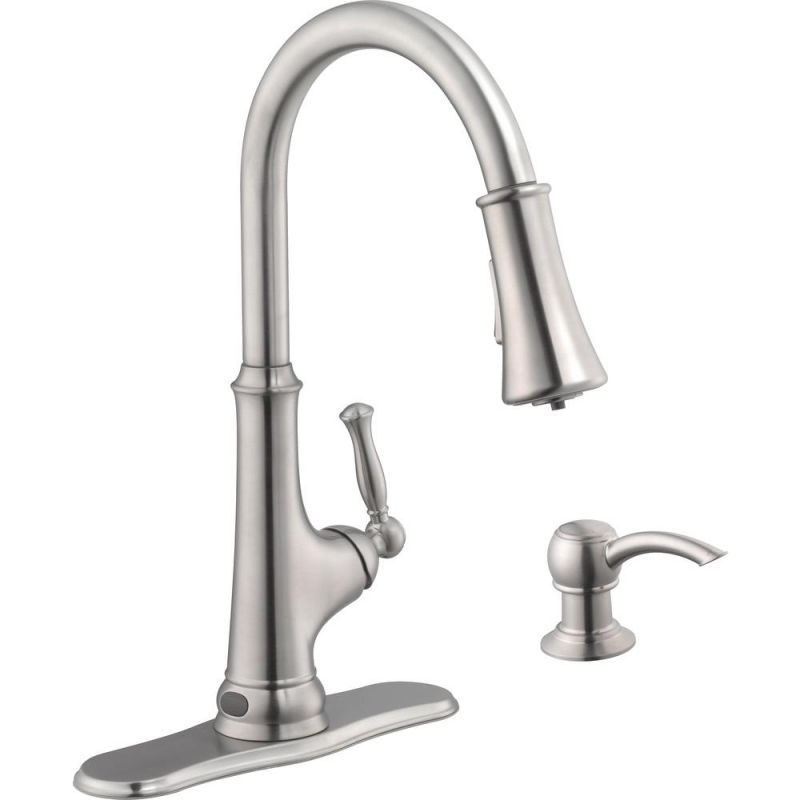 Glacier Bay Touchless Led Single-Handle Pull-Down Sprayer Kitchen Faucet With Soap Dispenser In Stainless Steel for Touchless Kitchen Faucet