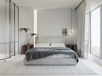 grey-and-white-bedroom-with-red-side-tables