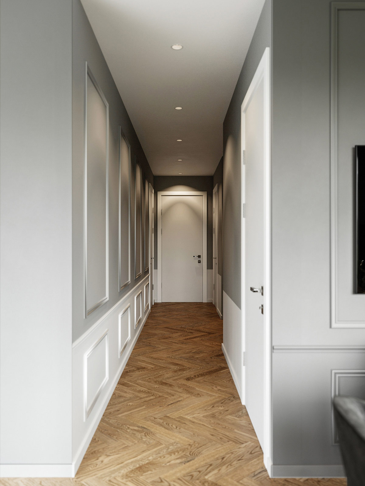 grey-and-white-paneled-modern-home-hallway-design-ideas-with-chevron-floors