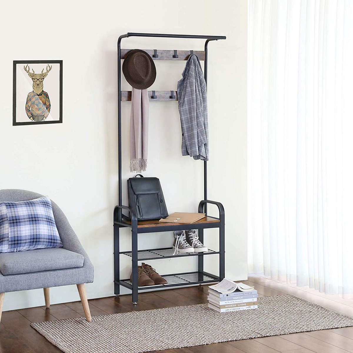 hallway-bench-seat-with-coat-rack-lower-shelves-and-coat-hooks