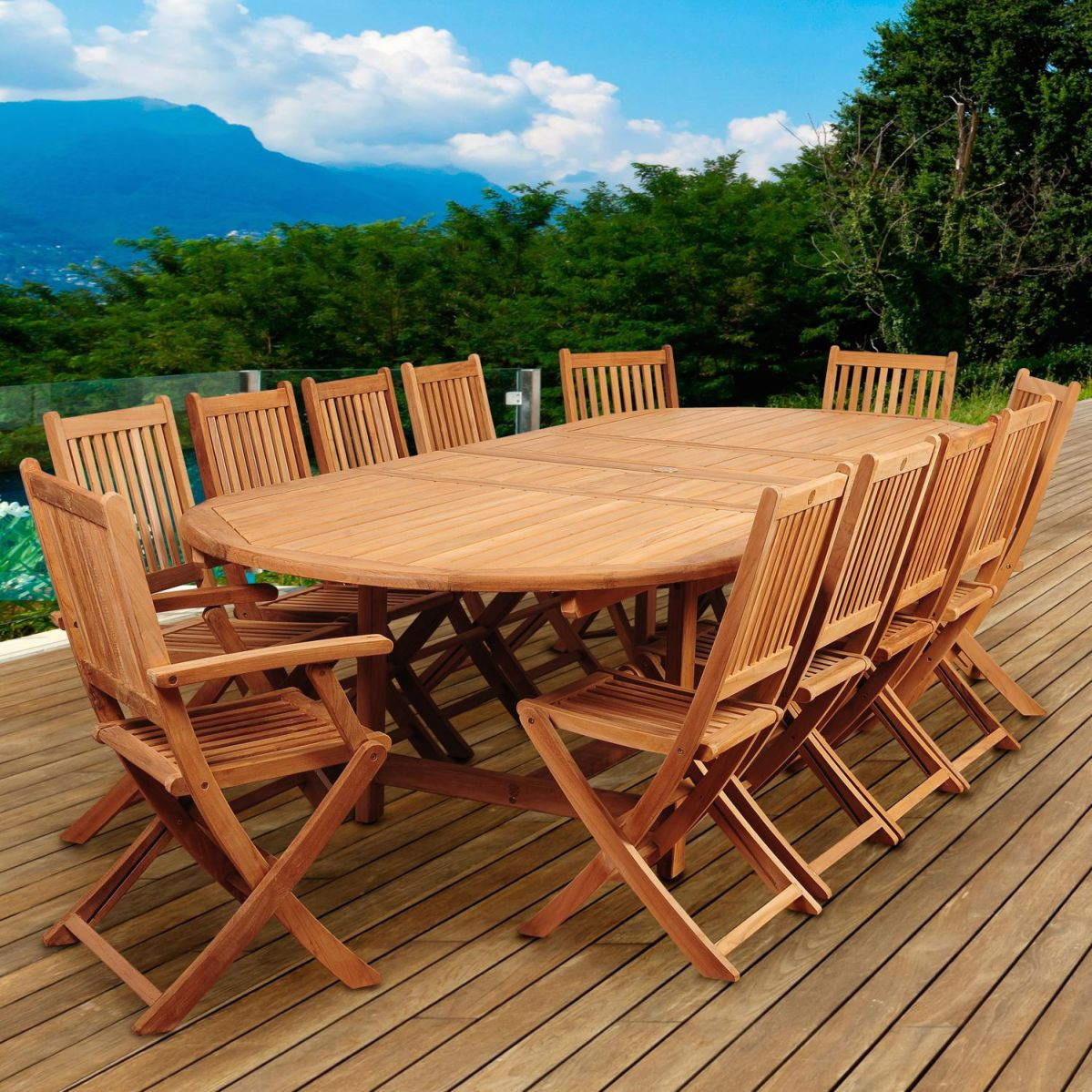 Highland Park 13 Piece Teak Patio Dining Set With Folding Chairs And 87 X  47 Inch Oval Extension Tableia with regard to Beautiful Teak Outdoor Furniture Set
