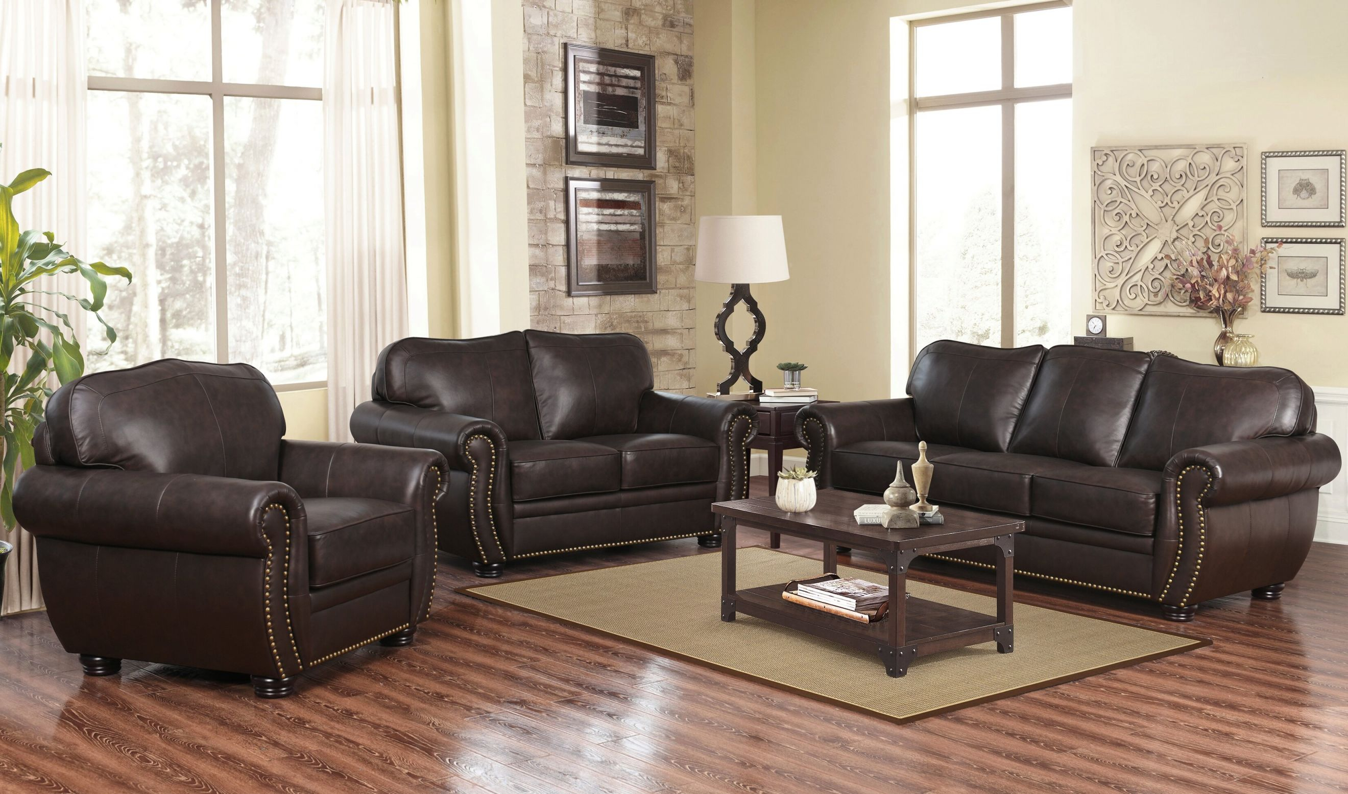 Hotchkiss 3 Piece Leather Living Room Set in Leather Living Room Sets