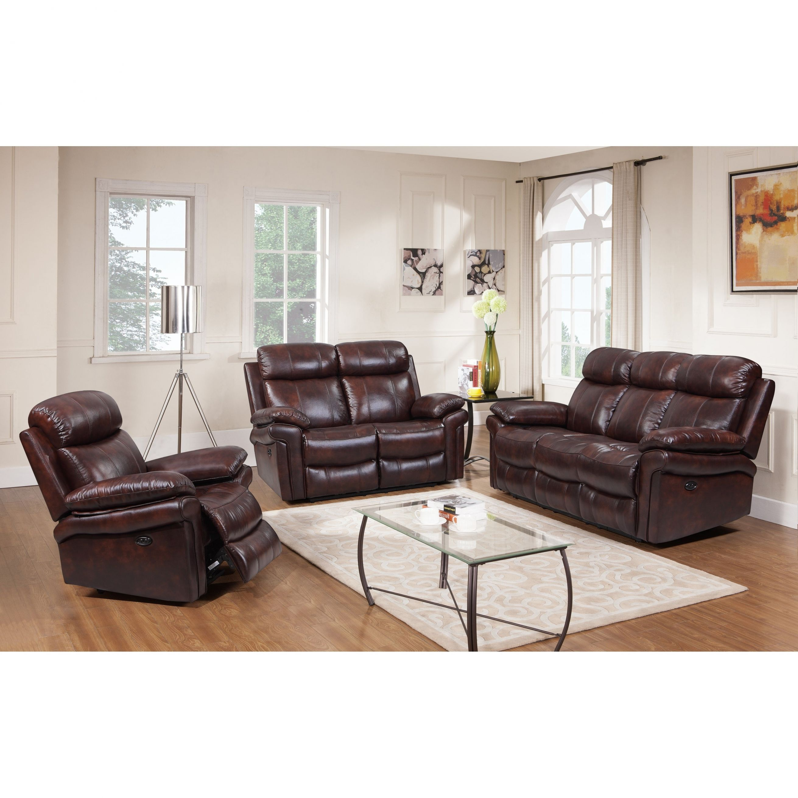 Hudson Top Grain Leather Power Reclining Living Room Set (Brown/ Blue/ Red) regarding Awesome Leather Living Room Sets