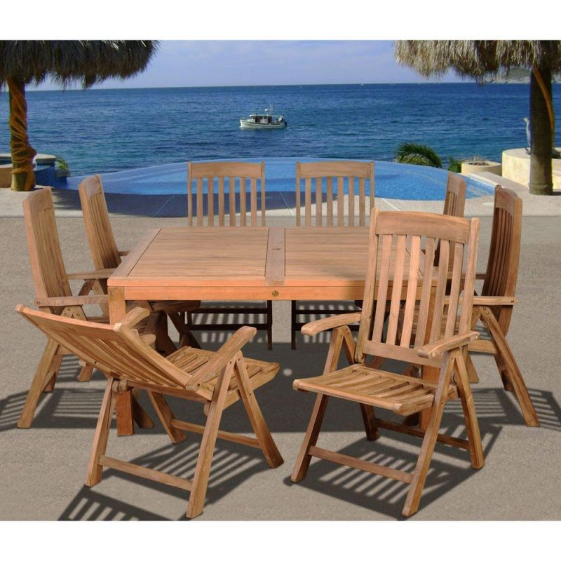 Ia Eiffel Square 9-Piece Solid Teak Patio Dining Set with Beautiful Teak Outdoor Furniture Set