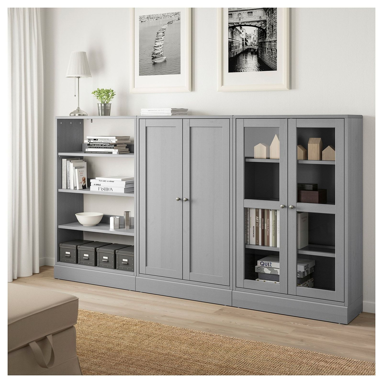 Ikea Havsta Gray Storage Combination W/glass Doors In 2019 | Mood pertaining to Living Room Storage Cabinet With Doors