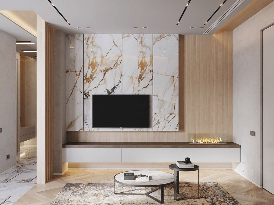 Interior Design Using Marble And Wood Combinations | Salon | Tv Wall inside Lovely Modern Living Room Tv Wall