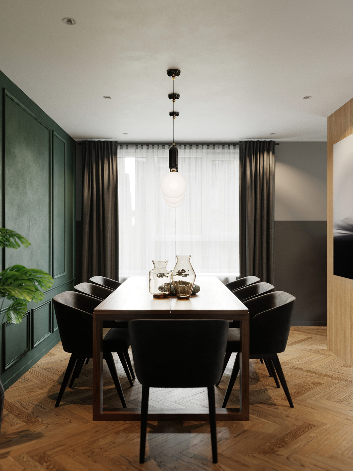 jewel-tone-dining-room-color-palette-with-black-modern-chairs