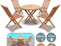 King Teak Outdoor Golden Teak Wood 4Pc Folding Chair And 1 Pc Round Table Set, Patio Furniture Set with Beautiful Teak Outdoor Furniture Set