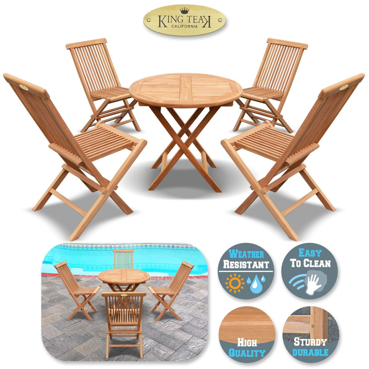 King Teak Outdoor Golden Teak Wood 4Pc Folding Chair And 1 Pc Round Table  Set, Patio Furniture Set with Beautiful Teak Outdoor Furniture Set