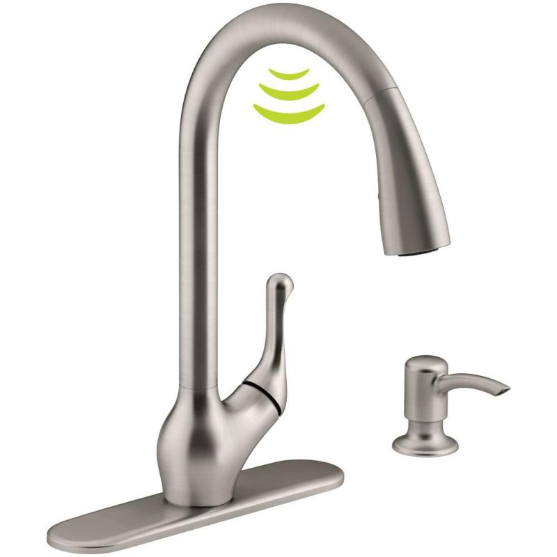 Kohler Barossa With Response Touchless Technology Single-Handle Pull-Down Sprayer Kitchen Faucet In Vibrant Stainless regarding New Touchless Kitchen Faucet