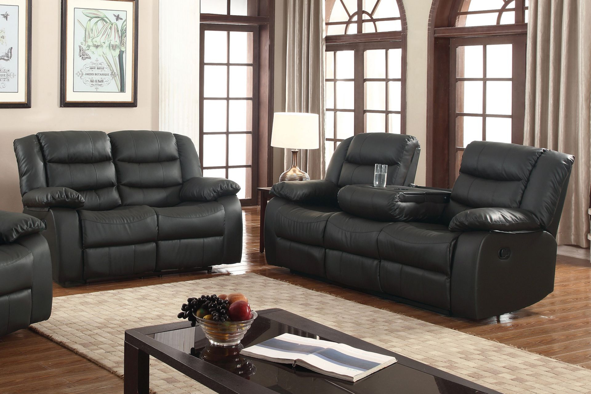 Layla 2 Pc Black Faux Leather Living Room Reclining Sofa And Loveseat Set With Drop-Down Tea Table inside Awesome Leather Living Room Sets